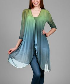 Look what I found on #zulily! Blue & Green Ombré Open Cardigan - Plus #zulilyfinds