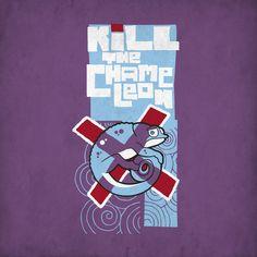 Kill the Chameleon t shirt. Hand drawn font & illustration.