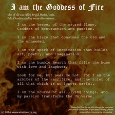 Goddess of Fire - a charge for the Book of Shadows