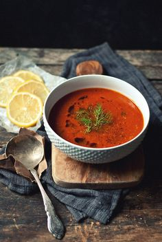 caramelized fennel roasted garlic tomato and lemon soup