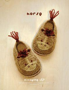 Horse Baby Booties Crochet PATTERN, PDF