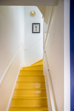 Interior Design - Projects - About - Contact Loft Staircase, Timber Staircase, House Stairs, Yellow Stairs, Yellow Walls, Boutique Interior Design, Home Interior Design, Beautiful Interiors, Colorful Interiors