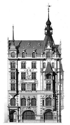 Wohnhaus und Hotel, Neuer Markt Ecke Kaiser Wilhelmstraße, von Zaar & Vahl, 1888: