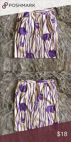 "Purple and cream linen pencil skirt High waisted linen pencil skirt. Zipper closure. 100% cotton. Fully lined. Has pockets. Length: 23"". Waist: 17"". Hips: 21"". No stretch. Runs small. Skirts Pencil"
