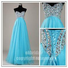 blue prom dress, blue dress, long prom dress, cheap prom dress, chiffon prom dress, RE128 via Etsy