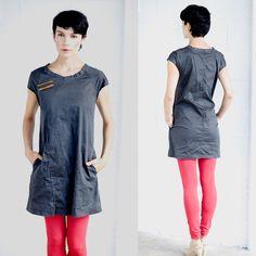A line dark black stone washed cotton denim mini dress, jeans everyday casual black mini dress, summer jeans dress by jenfashion on Etsy https://www.etsy.com/listing/84935725/a-line-dark-black-stone-washed-cotton