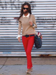 red pants, neutral sweater