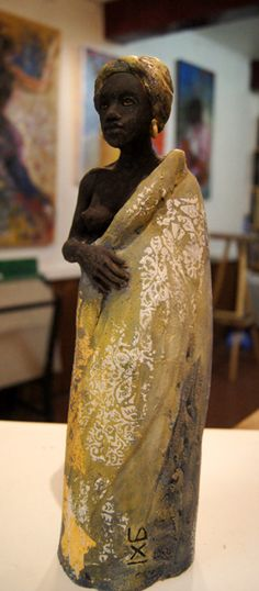 Africaine - E.Lacroix-Mathieu Sculptures, Sari, Style, Fashion, Terracotta, Figurative, African, Saree, Swag