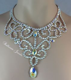 Ballroom Crystal Swirl and Lace Necklace http://www.ballroomjewels.com