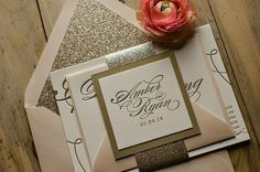Pink and gold letterpress wedding invitations, glitter wedding invitations, wedding invitation trends Gold Glitter Wedding, Glitter Wedding Invitations, Pink And Gold Wedding, Letterpress Wedding Invitations, Wedding Stationery, Gold Invitations, Platinum Wedding, Invitation Envelopes, Wedding Invitation Etiquette