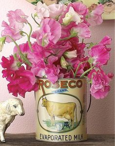 Sweet peas-so old fashioned and spicy scented, in a great can.