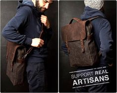 Waxed Canvas Backpack Canvas Bag Leather Backpack Travel
