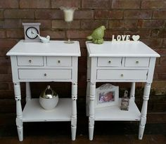 Matching bedside tables with 3 drawers