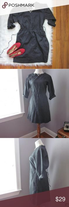 "GAP 3/4 Sleeve Charcoal Dress 6 Nwt New with tags! Perfect fall and winter dress. 100% ramie. Cotton slip included.  Bust 20"". Length 36"".   Bundle for best deals! Hundreds of items available for discounted bundles! You can get lots of items for a low price and one shipping fee!  Follow on IG: @the.junk.drawer Gap Dresses Long Sleeve"