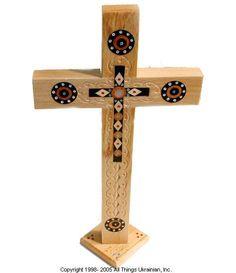 AllThingsUkrainian.com Ukrainian hand carved Carpathian Wood Cross  # CROSS59