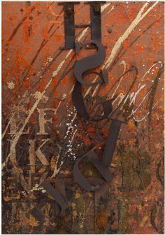 """Enrico Benetta, """"A metà"""", mixed media and cor-ten steel on canvas, cm 50x35"""