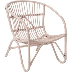 Bloomingville Rattan Chair - Blush (£145) ❤ liked on Polyvore featuring home, furniture, chairs, accent chairs, pink, bloomingville, pink chair, colored furniture, rattan furniture and pink accent chair