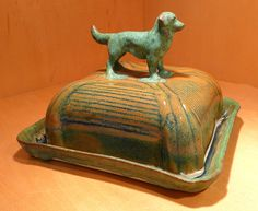 Weathered Dog Butter Dish - Porcelain, one of a kind by Tricia McGuigan, represented by Human Arts Gallery in Ojai, CA