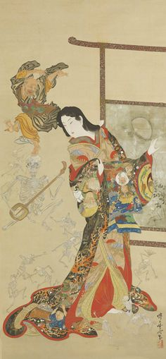 Kawanabe Kyosai ( 1831-1889, Japanese рainter, Hanging scroll, ink, color, silver and gold on silk, 149 x 70cm, Private collection ).