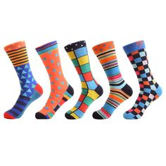ba57bf817a0f Colorful 5 pair Men Cotton Funny Statement Crew Socks Wedding Socks, Funky  Socks, Novelty