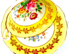 Foley Marigold Yellow Floral 1940's Tea Cup and Saucer - Edit Listing - Etsy