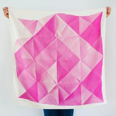 """""""Folded Paper"""" furoshiki textile in pink and cream"""