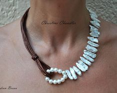 Pearl and Leather Necklace - Freshwater Pearl Jewelry - Freshwater Pearl Necklace - Statement Piece - Biwa Pearl - Leather jewelry - Leather by ChristineChandler on Etsy Leather Necklace, Boho Necklace, Leather Jewelry, Jewelery, Jewelry Necklaces, Handmade Jewelry Designs, Beach Jewelry, Copper Jewelry, Freshwater Pearl Necklaces