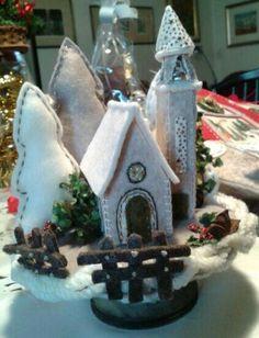 Natale feltro villaggio