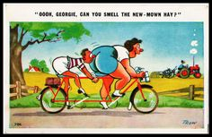 C-1950s Censored signed comic Postcard Sport cycling BBW tandem Bicycle theme