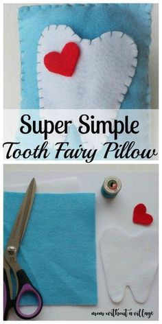 A Super Simple DIY Tooth Fairy Pillow - Mom Without a Village Tooth Fairy Pillow - An easy way to keep your child's tooth safe until the Tooth Fairy comes! Tooth Pillow, Felt Pillow, Tooth Fairy Pillow, Tooth Fairy Receipt, Tooth Fairy Box, Simple Diy, Easy Diy, Super Simple, Sewing For Kids