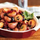 Potatoes with Olives and Sun-Dried Tomatoes.  Excellent substituting parsley for the basil.  Pinned by www.mygrowingtraditions.com