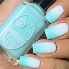 aqua blue, cute, cute nails, girly, ombre nails, pretty, summer, teen, teen nails, ombre effect, summer fever, aqua nails ombre