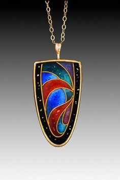 Sheila Beatty 24k gold on fine silver cloisonné. Setting: sterling silver back with 22k and 14k gold
