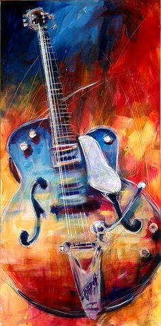 Roy Laws original artwork. A 1959 Gretch Guitar. 24 x 48 Acrylic on canvas. http://www.roylaws.com/#!Gretchen/zoom/crbp/i8w54