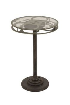 Metal & Glass Reel Accent Table $119