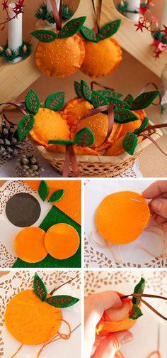 Felted oranges — cute Christmas tree decor tutorial