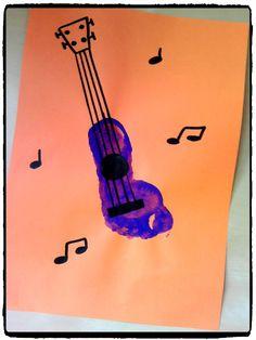 empreinte de pied, guitare, fête de la musique, peinture enfant