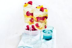 Mango, raspberry and passionfruit trifles