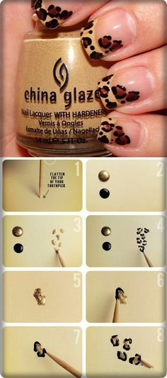 Cute!~  Leopard! A great twist on the traditional white french manicure. Would be great with pink leopard spots too