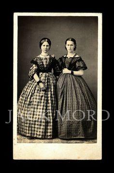 1860s Fashion CDV Photo ~ Pretty Young Girls in Beautiful Dresses & Jewelry