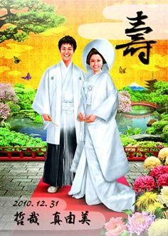 【庭園(シャイニー)和装似顔絵ウェルカムボード】華々しい日本庭園を背景に、和装姿でにこやかに佇む、お二人を似顔絵イラストでデザインしている「庭園(シャイニー)和装似顔絵ウェルカムボード」。晴れやかな表情のお二人が印象的なウェルカムボードです。挙式や披露パーティーで和装をお召しの場合は、もってこいのデザインになるでしょう。色鮮やかな背景と、白い紋付き袴、白無垢の衣装のコントラストがなんとも見応えのあるデザインで、使用している文字も「壽」と挙式の日付、お二人の名前のみという何ともシンプルな素材のみを使用しています。 他にウェルカムグッズなどを飾る場合でも、そのアイテムたちにも負けずに、ぱっと目を引くこと間違いなしのウェルカムボードです!