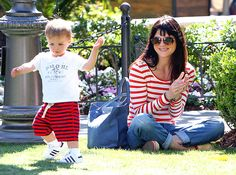 Selma Blair beamed as her little boy Arthur toddled across the lawn during a visit to The Grove in L.A. April 9.
