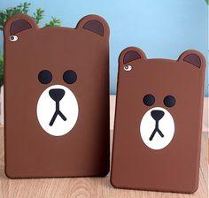 iPad mini 4 3D Cases Cute cartoon Brown Bear soft silicone protective case cover For ipad Air 2 iPad mini 2 3 4 Cover