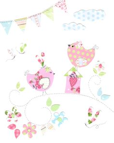 Birds and Butterflies Nursery Art Pink Green and by SnoodleBugs