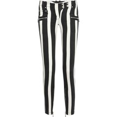 Balmain Striped low-rise skinny jeans ($785) ❤ liked on Polyvore featuring jeans, pants, bottoms, calças, skinny fit jeans, ankle zip jeans, ankle zip skinny jeans, black and white jeans and striped jeans