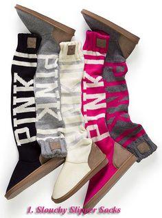 Love Pink Slouchy Slipper Socks. I wear these everywhere!
