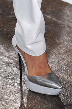 DKNY Spring 2013 - metallic shoes - silver & white