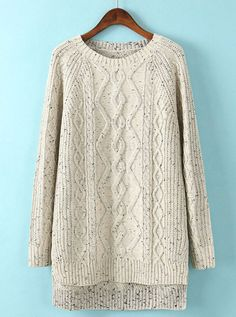 Beige Long Sleeve Dipped Hem Cable Knit Sweater US$34.26