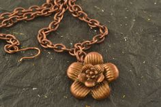 Copper Color Flower And Chain Necklace 16 Chain 27 x by ChezChani