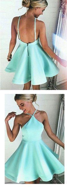 backless halter neckline a-line/princess satin homecoming dress